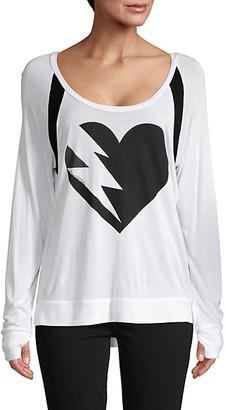 Lauren Moshi Lightning Heart Graphic Top