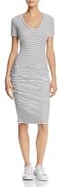 Monrow Rib-Knit Striped Tee Dress