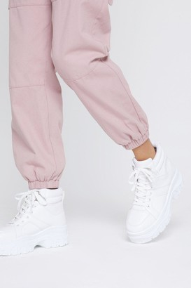 Nasty Gal Womens Can I Get a Boot Boot Chunky Sneakers - White