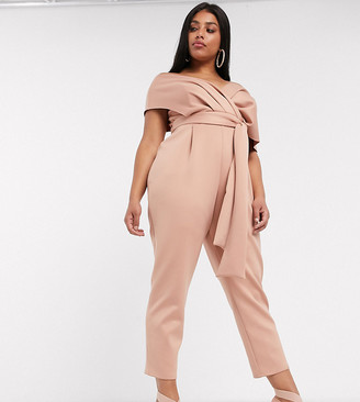 ASOS DESIGN Curve fallen shoulder scuba jumpsuit