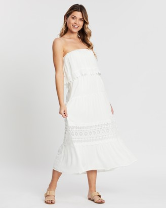 Atmos & Here Lara Tiered Lace Strapless Dress