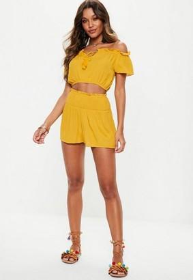 Missguided Mustard Shirred Waist Shorts