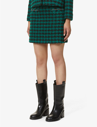 Sandro Claudie dogtooth check wool-blend mini skirt