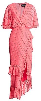 Saloni Rose Polka Dot Ruffled Midi Dress