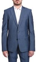 Versace Verasce Collection Men Two-piece Wool Suit Pindot Light Blue.