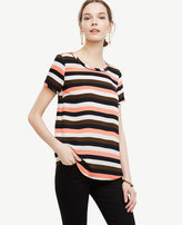 Ann Taylor Petite Stripe Piped Tee