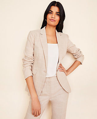 Ann Taylor The Tall One-Button Blazer in Windowpane Linen Twill