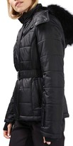Topshop Women's Bowie Faux Fur Trim Ski Jacket
