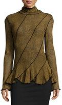 Fuzzi Lace-Print Ruffled Peplum Top, Gold