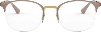 Ray-Ban Women's 0rx6422 No Polarization Round Prescription Eyewear Frame Gold on Top Matte Beige 51 mm