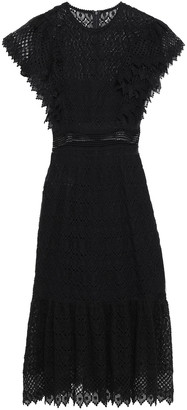 Philosophy di Lorenzo Serafini Lattice-trimmed Ruffled Cotton-blend Lace Dress