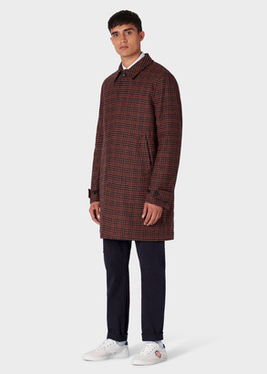 Paul Smith Men's Brown And Red Check Wool-Blend Overcoat