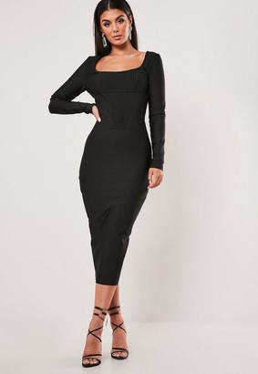 Missguided Petite Premium Black Long Sleeve Bandage Corset Midi Dress