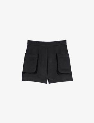 Sandro Ellie high-waisted wool-blend shorts