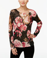 INC International Concepts Floral-Print Burnout Top, Only at Macy's