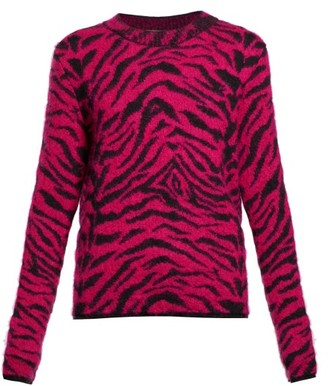 Saint Laurent Zebra-jacquard Wool-blend Sweater - Womens - Pink Multi