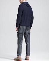 Brunello Cucinelli Flannel Cargo Pants, Dark Gray