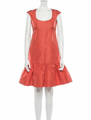 Oscar de la Renta Silk Mini Dress Orange