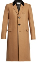 Saint Laurent Velvet-collar camel hair-blend overcoat