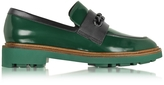 Robert Clergerie Jate Pine Green Leather Loafer