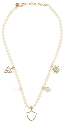 Jade Jagger Diamond, Gemstone & Pearl 18kt Gold Charm Necklace - Pearl