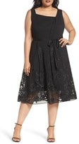 Tahari Plus Size Women's Embroidered Chiffon Midi Dress
