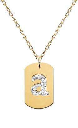 Jane Basch Designs Diamond Initial Dog Tag Necklace