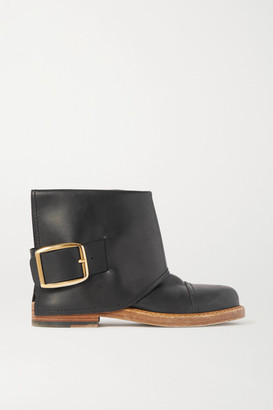 Alexander McQueen Buckled Leather Ankle Boots - Black