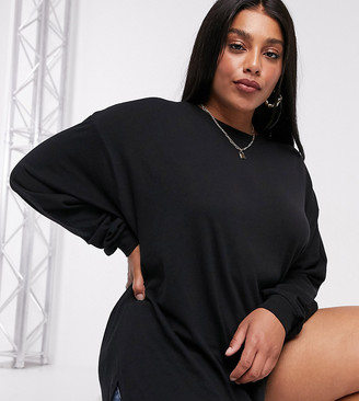 ASOS DESIGN Curve oversized long sleeve t-shirt with cuff detail in black