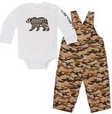Carhartt White 'Carhartt' Bodysuit & Tan Camo Ripstop Overalls - Infant