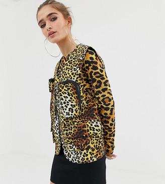 Collusion Petite leopard print sleeveless utility vest
