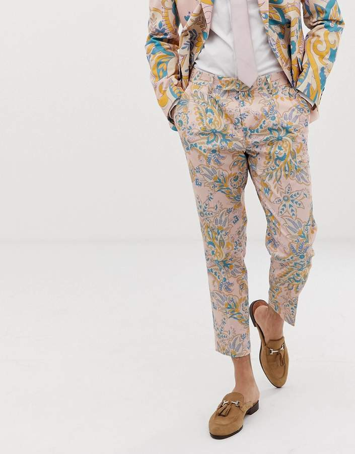 Asos Design DESIGN wedding cigarette suit pants in paisley print