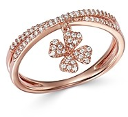 Bloomingdale's Diamond Clover Charm Ring in 14K Rose Gold, 0.20 ct. t.w. - 100% Exclusive