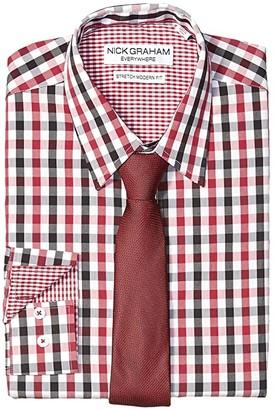Nick Graham Gingham Contrast CVC Stretch Dress Shirt Tie Set (Brown) Men's Clothing