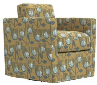 "Krogman Swivel 20.5"" Club Chair Latitude Run Upholstery Color: Granite Gray Linen"