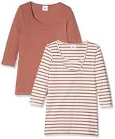 Mama Licious MAMALICIOUS Women's MLLEA ORGANIC NELL 3/4 MIX TOP NF 2-PACK Maternity Sweatshirt, Pink (Cedar Wood)