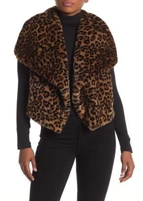 Catherine Malandrino Faux Fur Leopard Print Vest