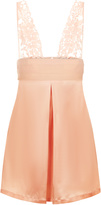 Azalea Peach slip in stretch silk satin and Leavers lace