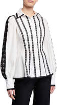 Andrew Gn Long-Sleeve Lace-Striped Cotton Blouse