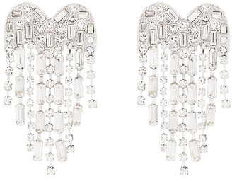 Kenneth Jay Lane Rhinestone Heart Waterfall Drop Earrings
