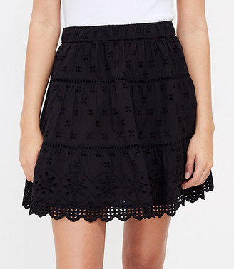 LOFT Embroidered Tiered Pull On Skirt