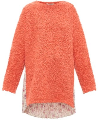 Junya Watanabe Floral-print Plisse And Boucle-knit Sweater - Coral