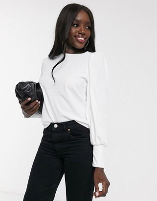 ASOS DESIGN top with blouson sleeve and cuff detail in ecru