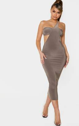 ASA Trad Taupe Slinky One Shoulder Detail Extreme Cut Out Midi Dress