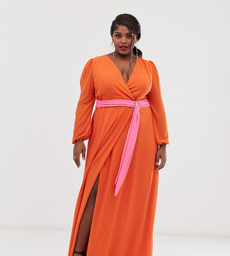 TFNC Plus Plus wrap maxi dress with contrast waistband in orange