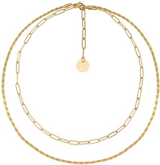 A Weathered Penny Layered Chain Necklace Gold