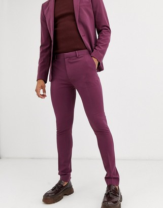 ASOS DESIGN wedding super skinny suit pants in aubergine