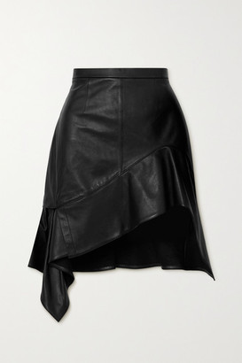Alexander Wang Asymmetric Ruffled Leather Mini Skirt - Black