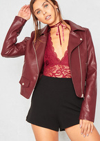 Missy Empire Sydney Wine Faux Leather Biker Jacket