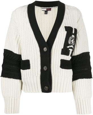Tommy Hilfiger Chunky-Knit Embroidered Logo Cardigan